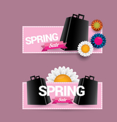 Spring sale label with beautiful flowers vector