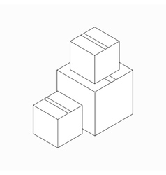 Stack of cardboard boxes icon isometric 3d style vector