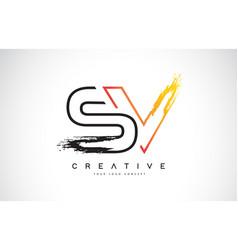 Sv creative modern logo design with orange vector