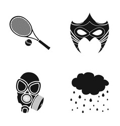 tennis racket mask and other web icon in black vector image vector image
