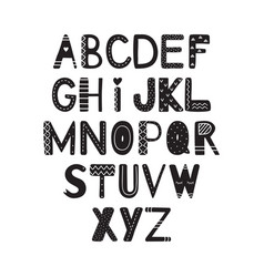 the hand drawing alphabet in scandinavian style vector image