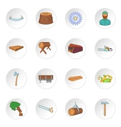 Timber industry icons set cartoon style vector