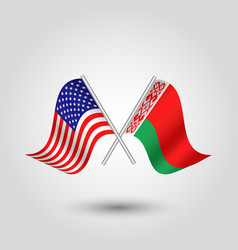 Two crossed american and belarusian flags vector