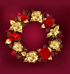 wreath of roses on red background vector image