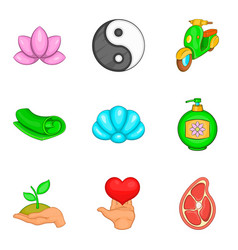 Yoga activity icons set cartoon style vector