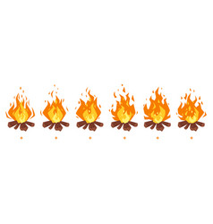 camp fire sprites for animation vector image