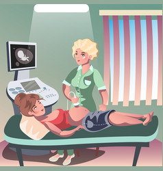 doctor holding ultrasound of a pregnant woman vector image