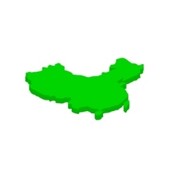 Green map of China icon isometric 3d style vector image vector image