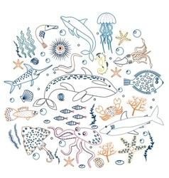 Concept Set of Cute Sea animals fish Color vector image vector image