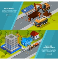 Construction Isometric Horizontal Banners vector image