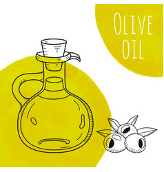 Hand drawn olive oil bottle with green watercolor vector