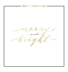 Merry and bright gold text isolated on white vector image vector image