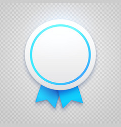 badge with blue ribbon on transparent background vector image vector image