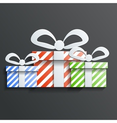 Christmas Gift icon with shadow vector image vector image