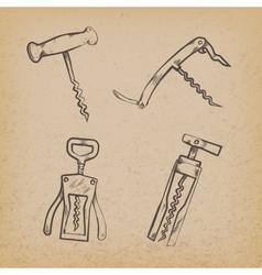 Collection of retro corkscrews vector
