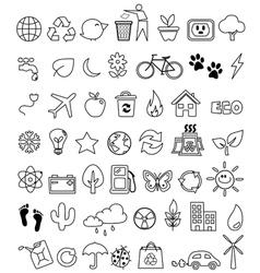 eco doodle icon set vector image