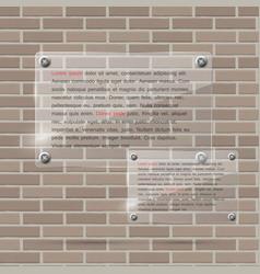 Glass frame on brick wall vector