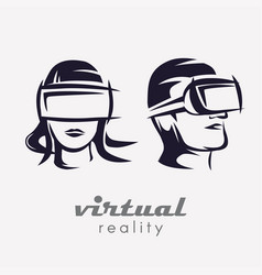 mans and womans head in vr glasses icon stylized vector image vector image