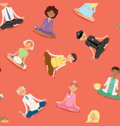 meditation yoga people relaxation procedure vector image