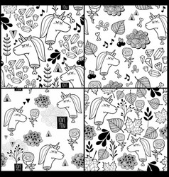 set of black and white patterns with dead unicorn vector image vector image
