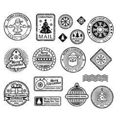 vintage christmas postage stamps set vector image