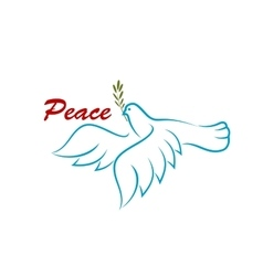 Bird of peace with green olive branch vector image vector image