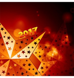 Festive golden stars 2017 over glowing background vector
