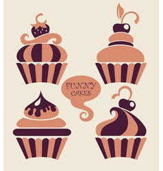 funny cartoon cupcakes collection vector image vector image