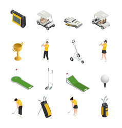 golf colored isometric isolated icons vector image vector image