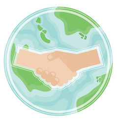 handshake on planet earth in flat stylesymbol of vector image