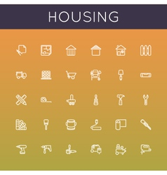 Housing Line Icons vector image vector image