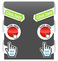 left and right side signs - click here vector image vector image