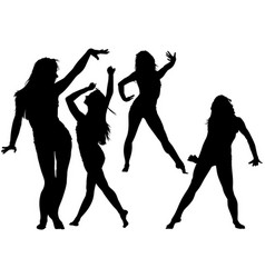 silhouetted dancing young woman vector image