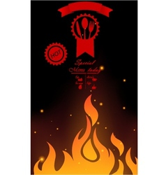 Steak menu with fire flame vector image