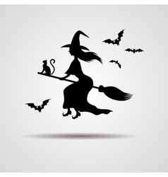 young Witch silhuette on a broomstick vector image