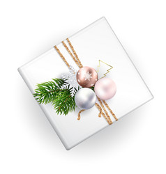 a mockup of a christmas gift box with decoration vector image