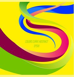 Abstract colors curve on a yellow vector