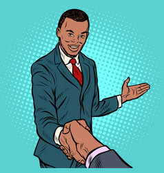 african businessman shaking hands vector image