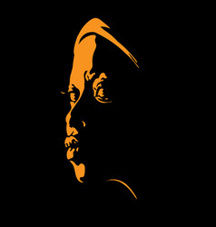 African woman portrait silhouette in backlight vector