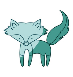 Aquamarine hand drawn silhouette of fox vector
