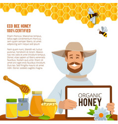 at beekeeping theme poster vector image