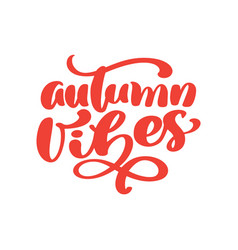 Autumn vibes hand lettering phrase on orange vector