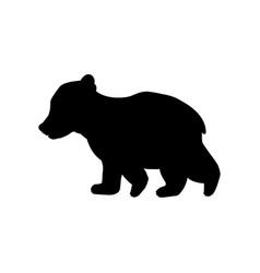 Bear cub wild black silhouette animal vector