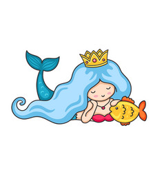 Beautiful lying dreamy mermaid with crown and long vector