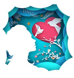 beauty girl cartoon paper landscape vector image