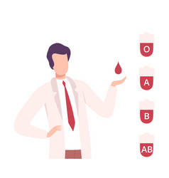 Blood donation male doctor with drop blood vector