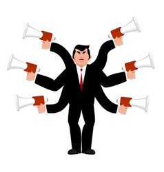 boss and megaphone businessman and lots of hands vector image