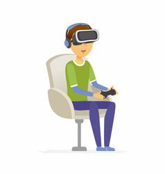 boy wearing virtual reality glasses - cartoon vector image