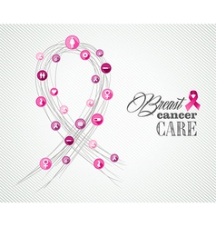 Breast cancer awareness symbols concept banner vector