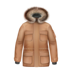 Brown winter coat vector